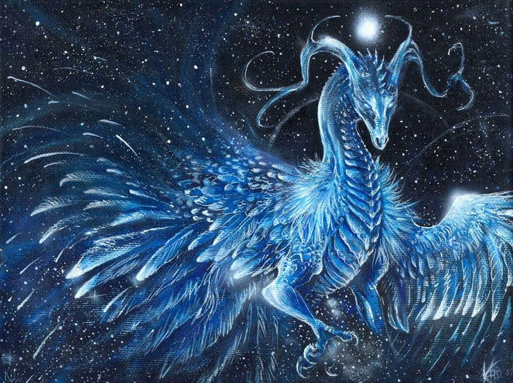 Feathered ice dragon in a blizzard | Dragons, Mythical