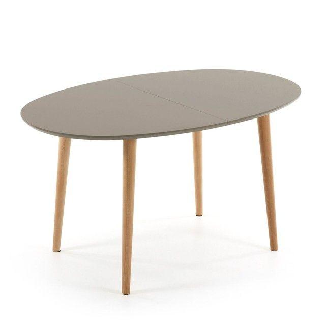 Table Oqui extensible ovale 140-220 cm, naturel et marron Tables