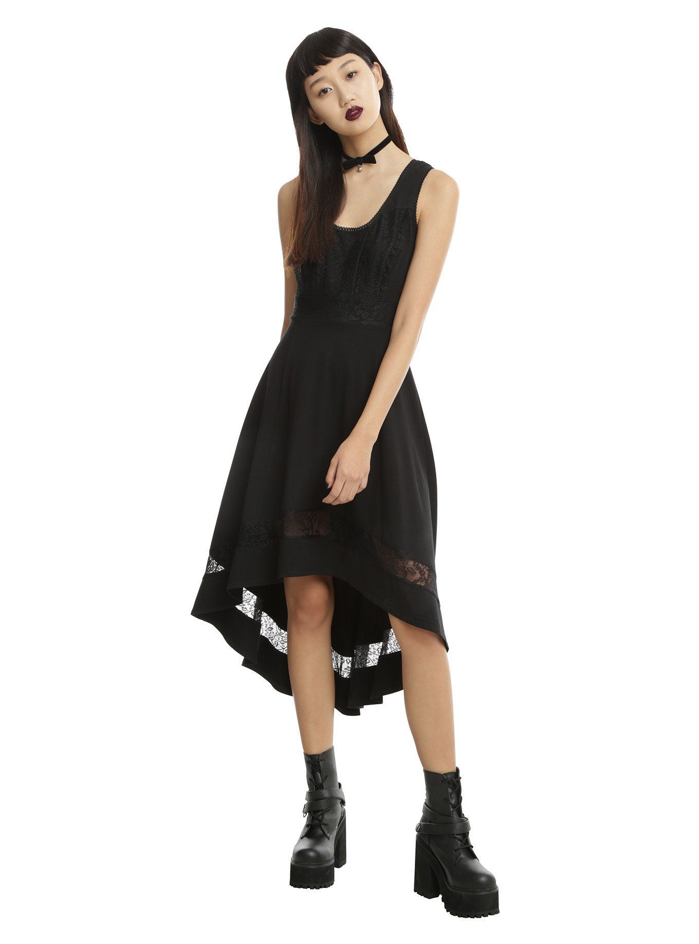 9967f12780 Royal Bones By Tripp Black Lace Inset Hi-Low Dress