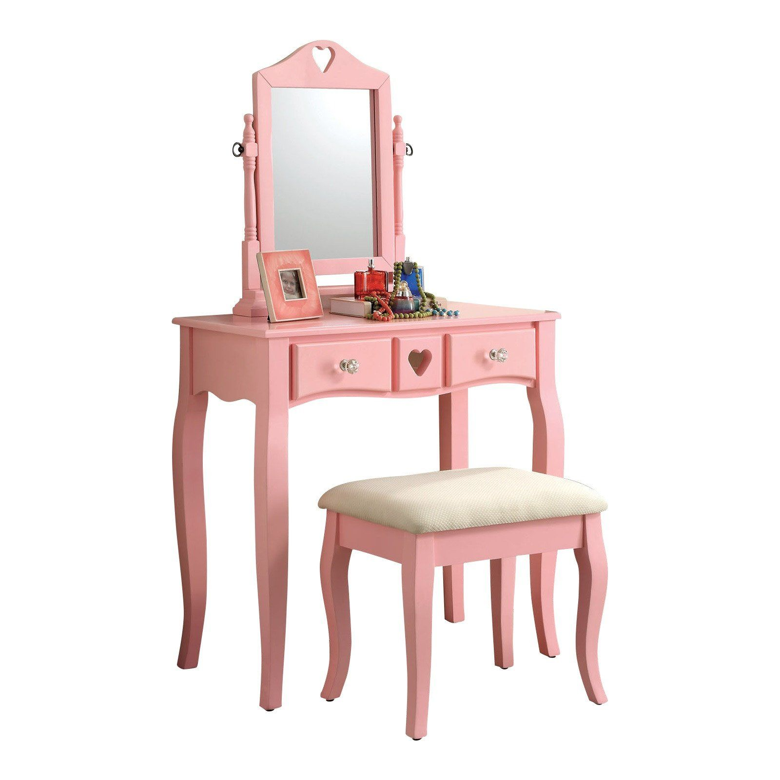 Furniture of america pink francine vanity with stool cmdkpk