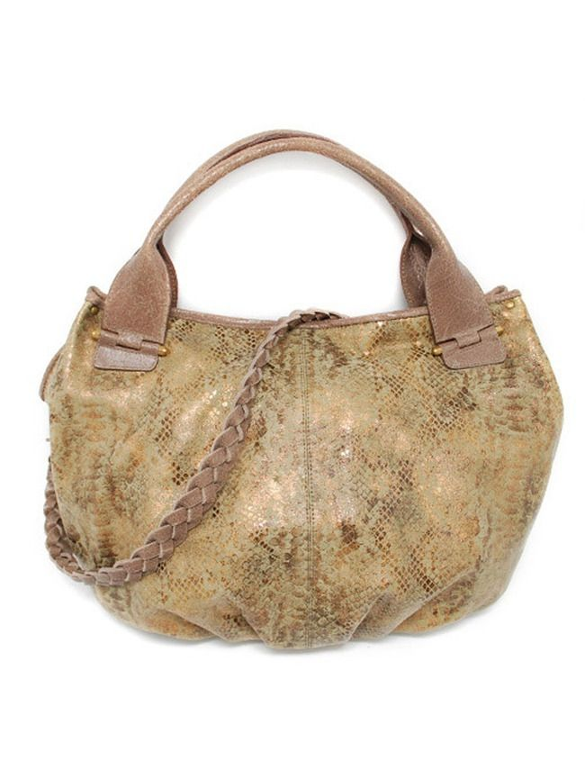 Handmade gold leather bucket satchel bag