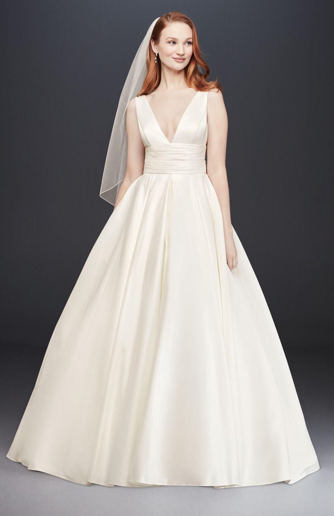 1085aa0c8b33 Satin V-Neck Cummerbund Ball Gown Wedding Dress by David's Bridal Collection  | Simple Wedding Dress