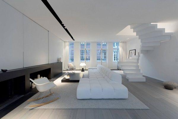 Schwarz Rohstoff Wohnung Luxus Wohnzimmer Wendeltreppe Modulare Sofa