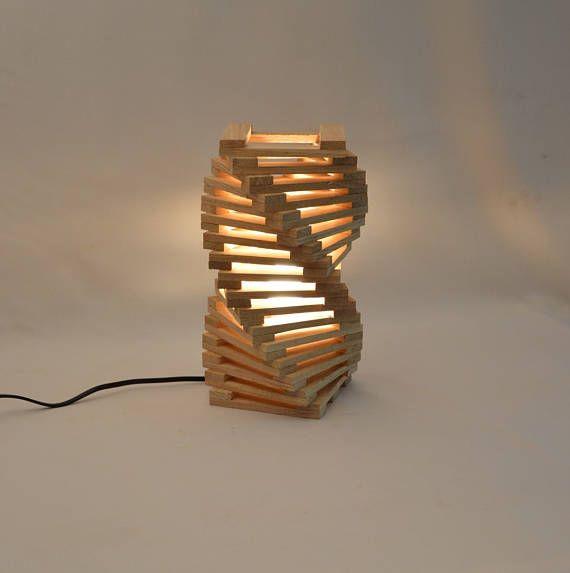 design table lamp in oak wood twisted modern desk lamp. Black Bedroom Furniture Sets. Home Design Ideas