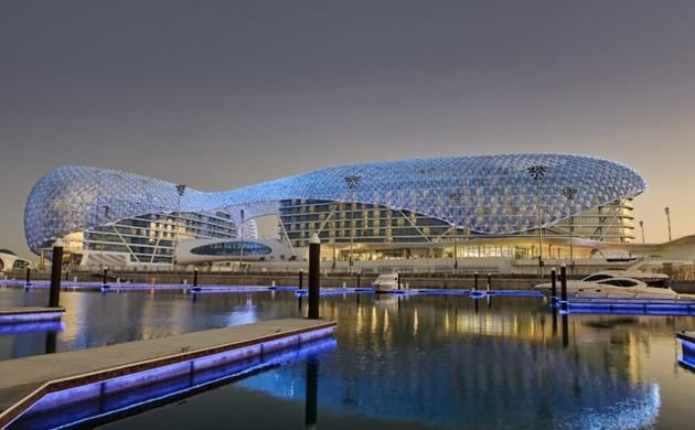 The Yas Marina Hotel is located within the Yas Marina Circuit, Abu Dhabi. It is the first new hotel in the world to be built over an F1 race circuit.