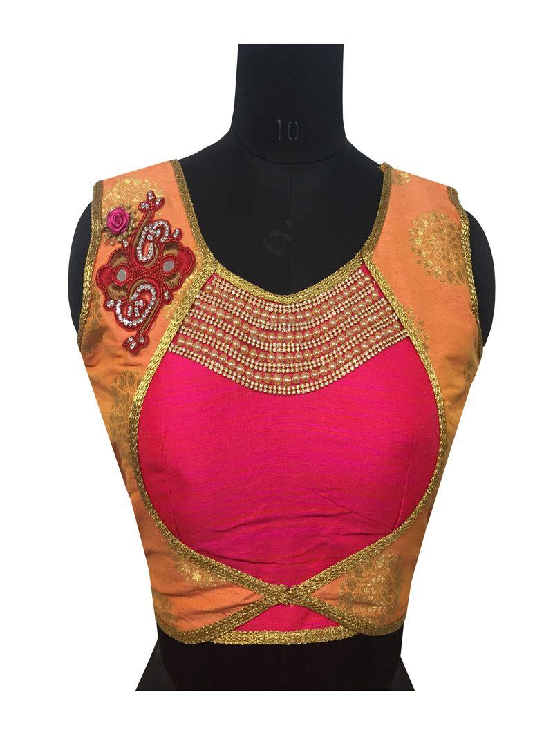 Saree blouse design cutting pink jacquard readymade blouse   yellow rani  pinterest