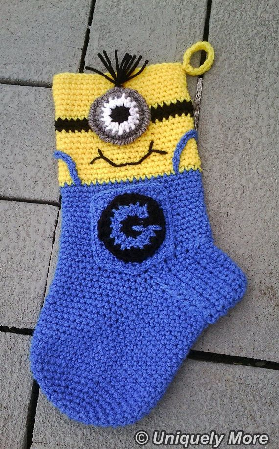 Minion Stocking Crochet Pattern Instant Download Crocheting