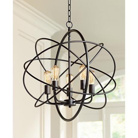 Ellery 24 3 4 Wide 5 Light Bronze Sphere Foyer Pendant 8g444 Lamps Plus Entryway Light Fixtures Chandelier Lighting Fixtures Kitchen Chandelier