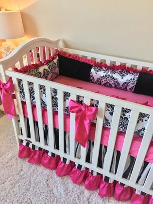 Hot Pink and Black and White Damask Crib Bumper