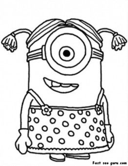 Printable Minion Coloring Page : printable, minion, coloring, Tegning