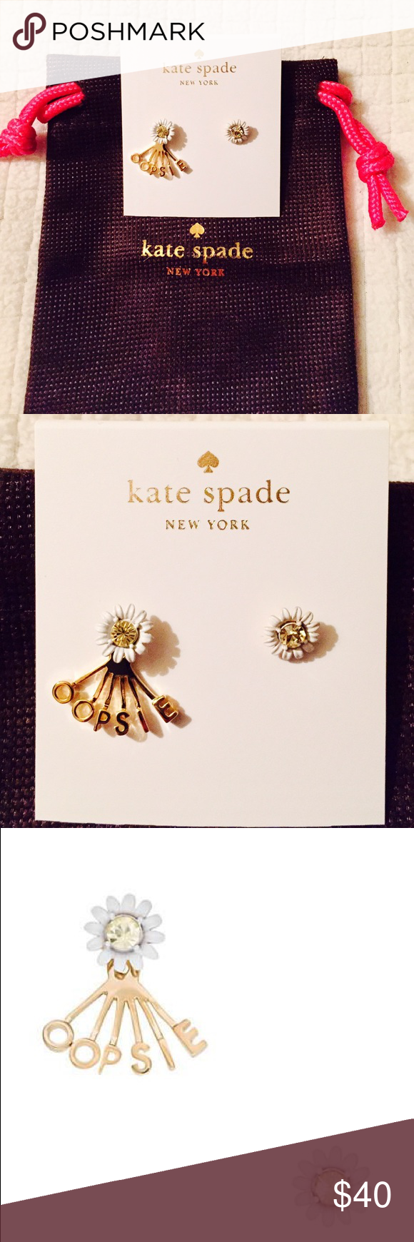 Kate Spade 14k Gold Plated Oopsie Daisy Studs Brand New With Tag And