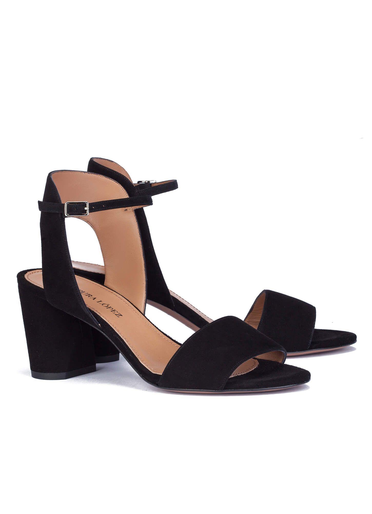 mayor descuento calidad autentica super servicio Sandalias negras de tacón ancho - tienda de zapatos Pura ...