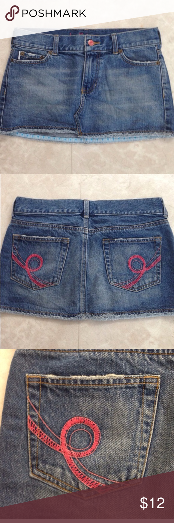 Hollister Distressed Mini Jean Skirt Pink stitching. Frayed bottom. Excellent condition. Hollister Skirts Mini