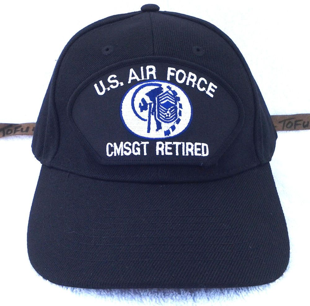 US AIR FORCE CMSGT RETIRED (BLACK) Military Veteran Hat 583 RAEB  Nissin   0ae5ef2a5704