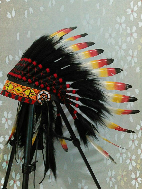 Goose Feathers Headdress Chief Indian Hat By Thelandofcockaigne Feather Headdress Indian Headdress Native American Clothing