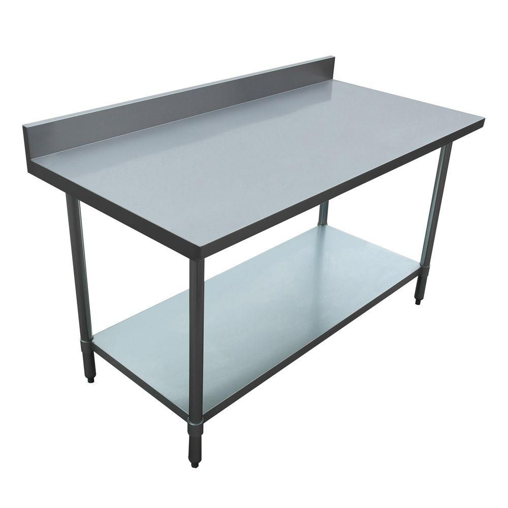Excalibur Stainless Steel Kitchen Utility Table with Backsplash ...