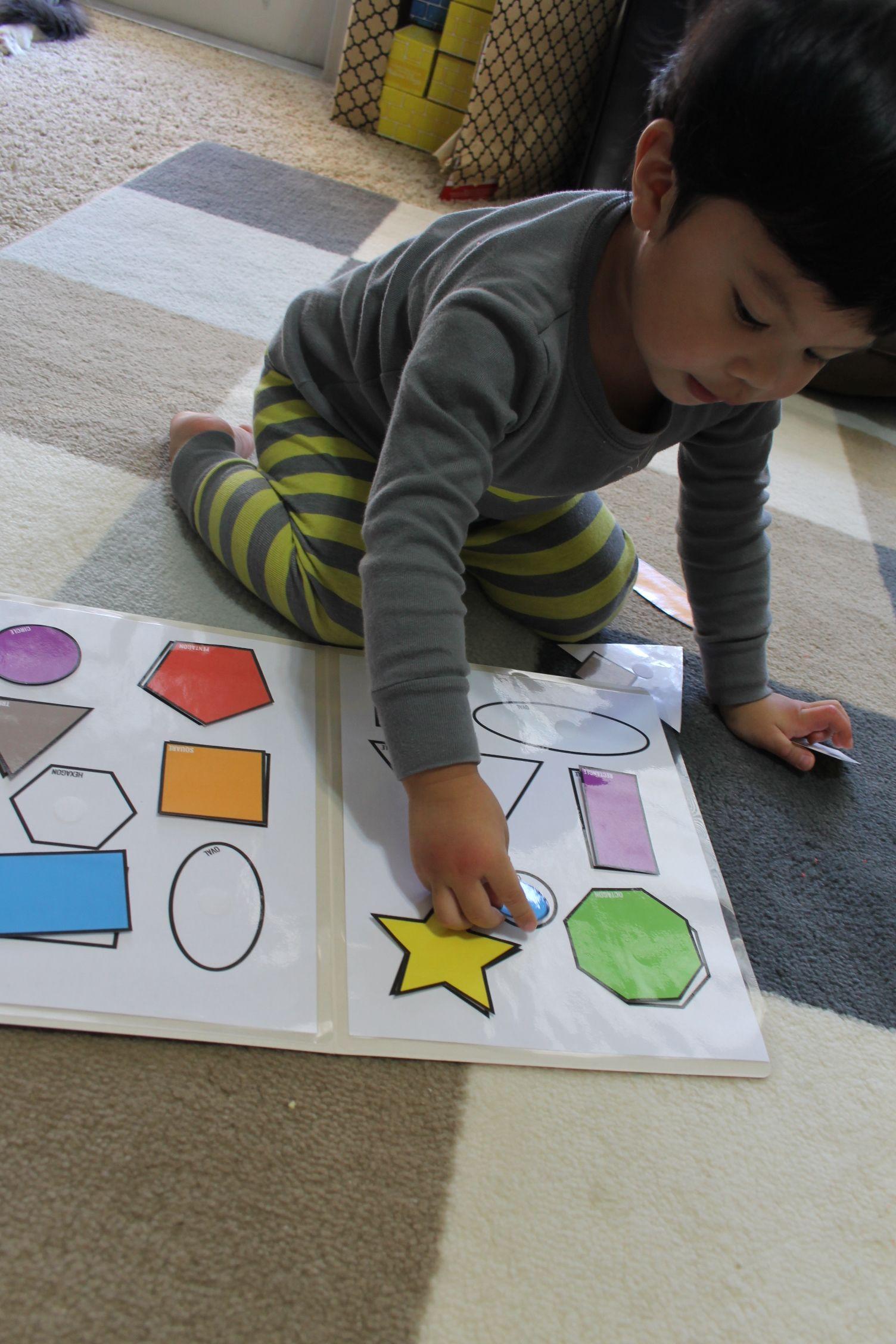 Freebies Colorful Shapes Matching File Folder Printable