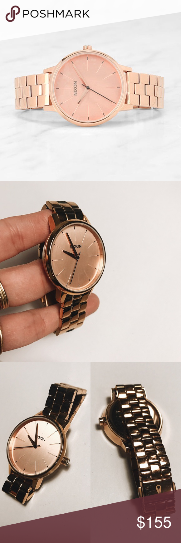 Nixon Kensington All Rose Gold Watch Worn a few times. Comes with entire packaging- see last photo. No scratches on the face itself, some light scratches around the band and on the back of watch. Reference pictures. Not noticeable unless very closely inspected. Overall in excellent condition.  Classic 37mm case size in a clean look that's suitable for any setting. 3-hand movement with understated contemporary charm. More slender 16mm, 3-link band for wide-ranging appeal with a stainless…