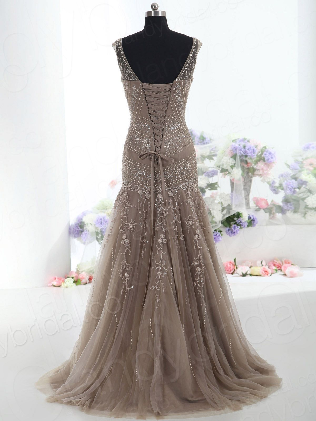 Classic Trumpet-Mermaid V Neck Natural Court Train Tulle Brown Sleeveless  Wholesale Mother Of The