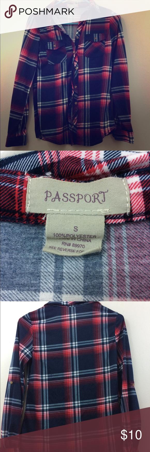 Passport Plaid Shirt Item Passport Plaid Shirt Color Blue Red And White Size Small Details Worn Once And Looks Good F Plaid Shirt Plaid Colorful Shirts