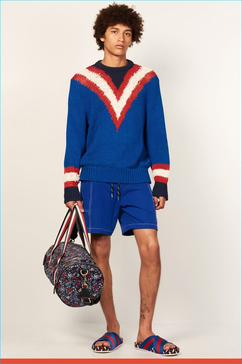 3c292cff691 Tommy Hilfiger goes Ivy League preppy with a varsity style v-neck sweater  for spring-summer 2017.