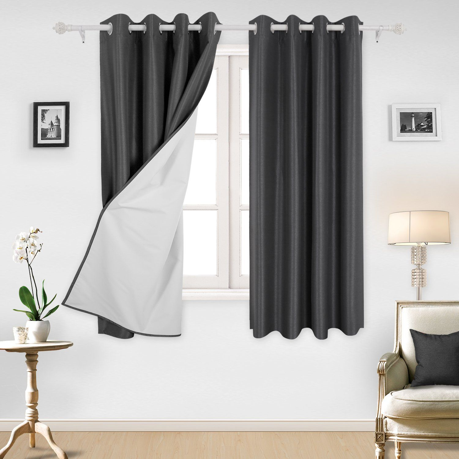 Deconovo Room Darkening Thermal Insulated Grommet Blackout Curtain Panels With White Lining For Living