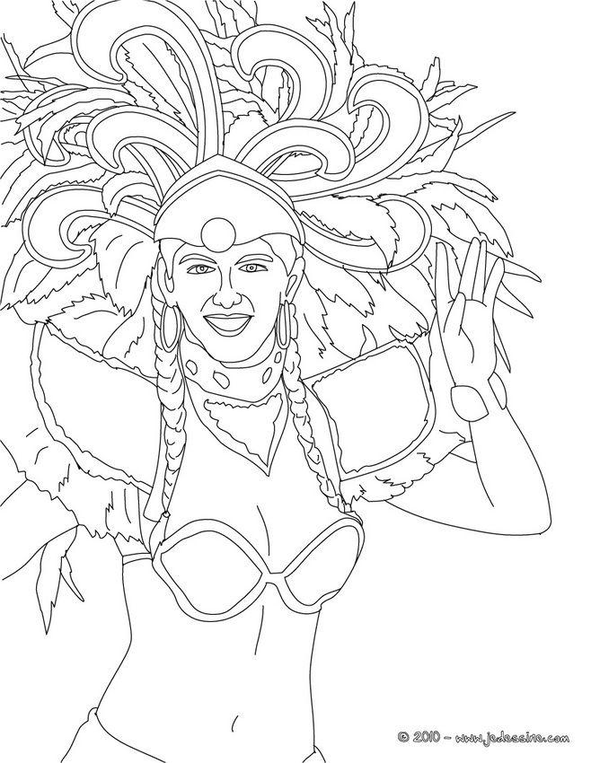 Coloriage Carnaval De Rio Bresilienne Coiffe Carnaval Rio A Colorier Coloriage Carnaval Coloriage Carnaval De Rio