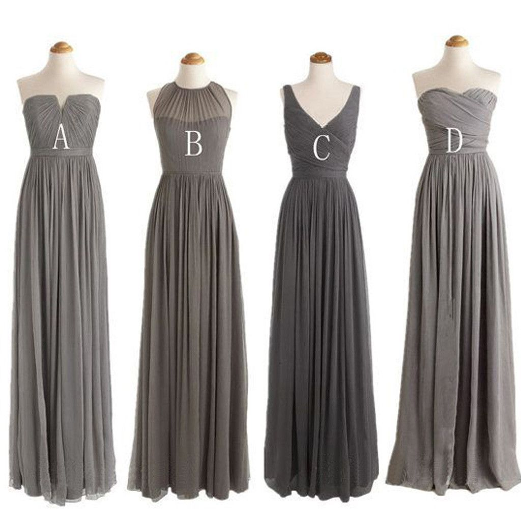 Grey cheap simple mismatched styles chiffon floor length formal grey cheap simple mismatched styles chiffon floor length formal long bridesmaid dresses wg188 ombrellifo Image collections