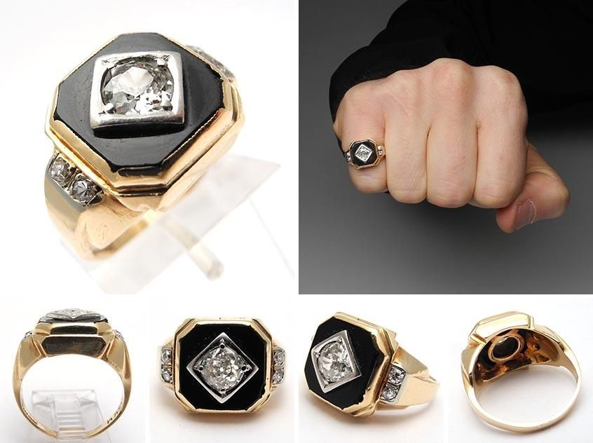 bee60d448a8fc antique mens pinky ring with a old european cut diamond and black ...