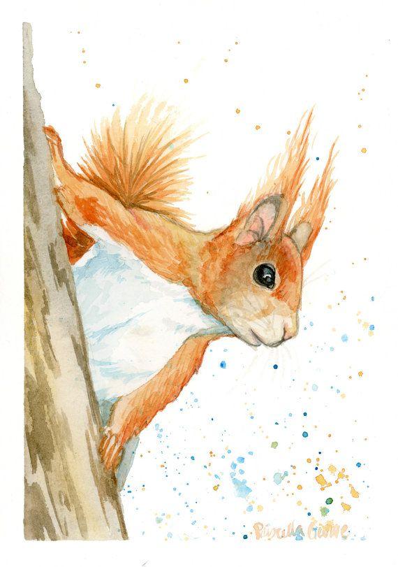 Red Squirrel Print Watercolor Animal Art Nursery Art