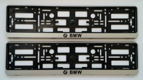 2x BMW SILVER NUMBER PLATE SURROUNDS HOLDER FRAME FOR ANY BMW CARS ...