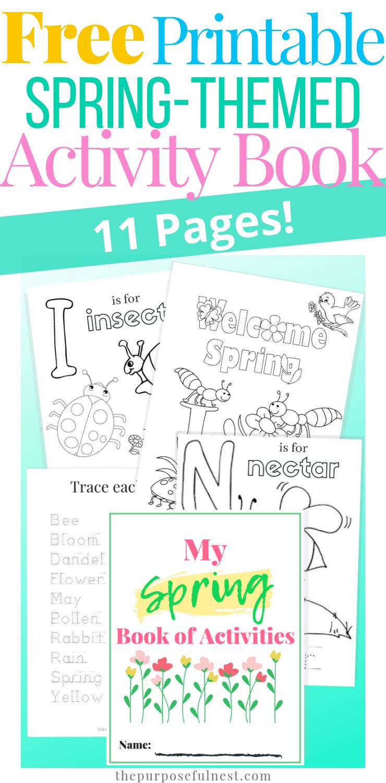 Printable Spring Coloring Pages Activity Book Free Preschool Printables Spring Worksheets Preschool Spring Worksheet [ 1500 x 740 Pixel ]