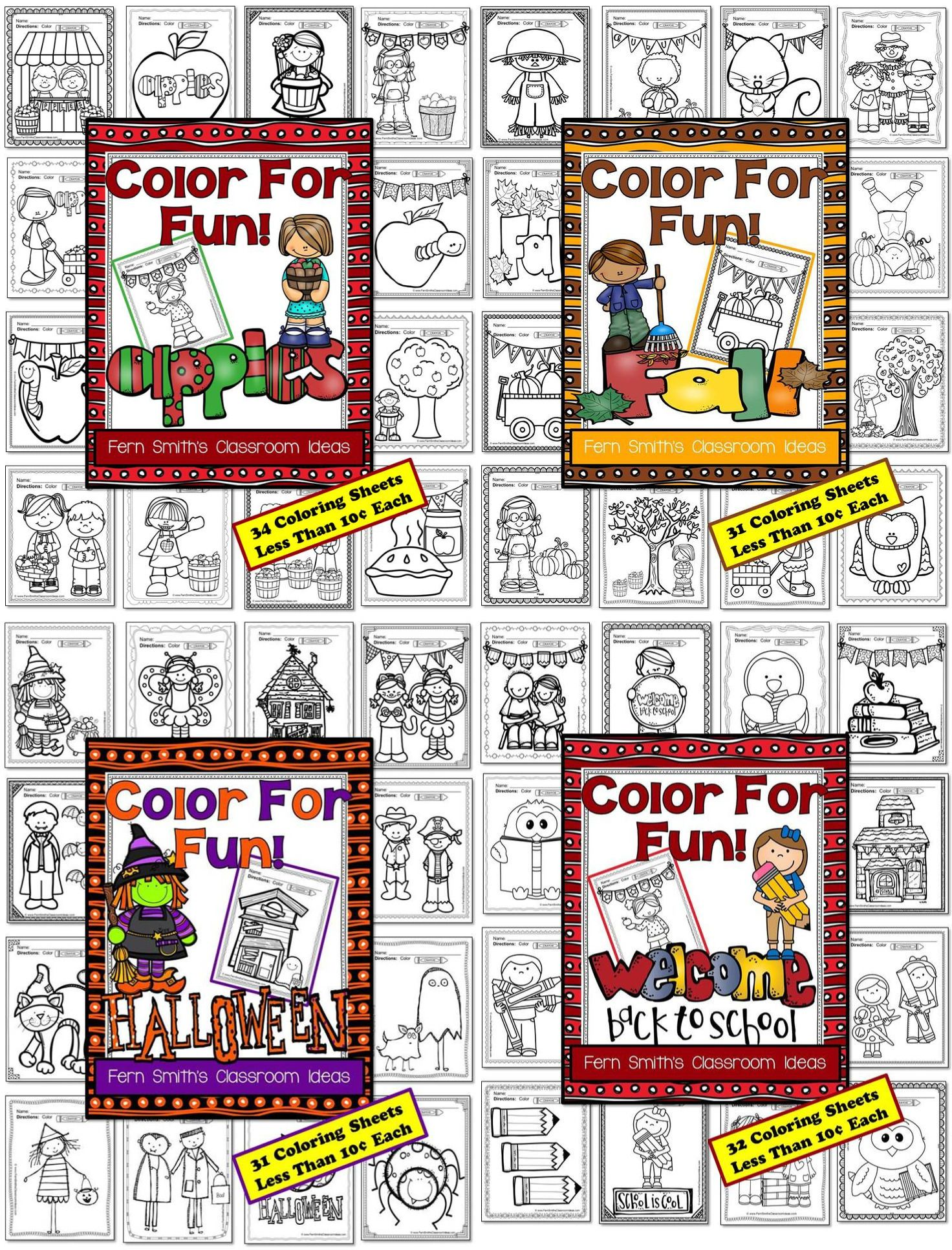 Fall coloring pages a four pack coloring book bundle