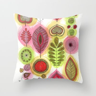 Retro Leaves Throw Pillow by Sarah Travis - $20.00