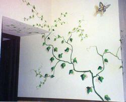 Enredaderas Pintadas En Las Paredes And Post Mural De Jardín Pinturas De Pared Pintura De Interiores