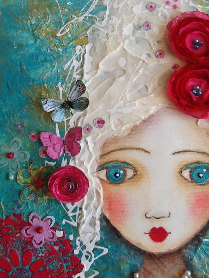 Marie media on canvas whimsical