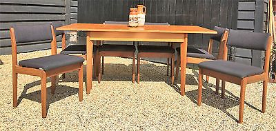 Retro 1960's mid century uniflex teak #extending #dining #table & six chairs ,  View more on the LINK: http://www.zeppy.io/product/gb/2/302011286175/