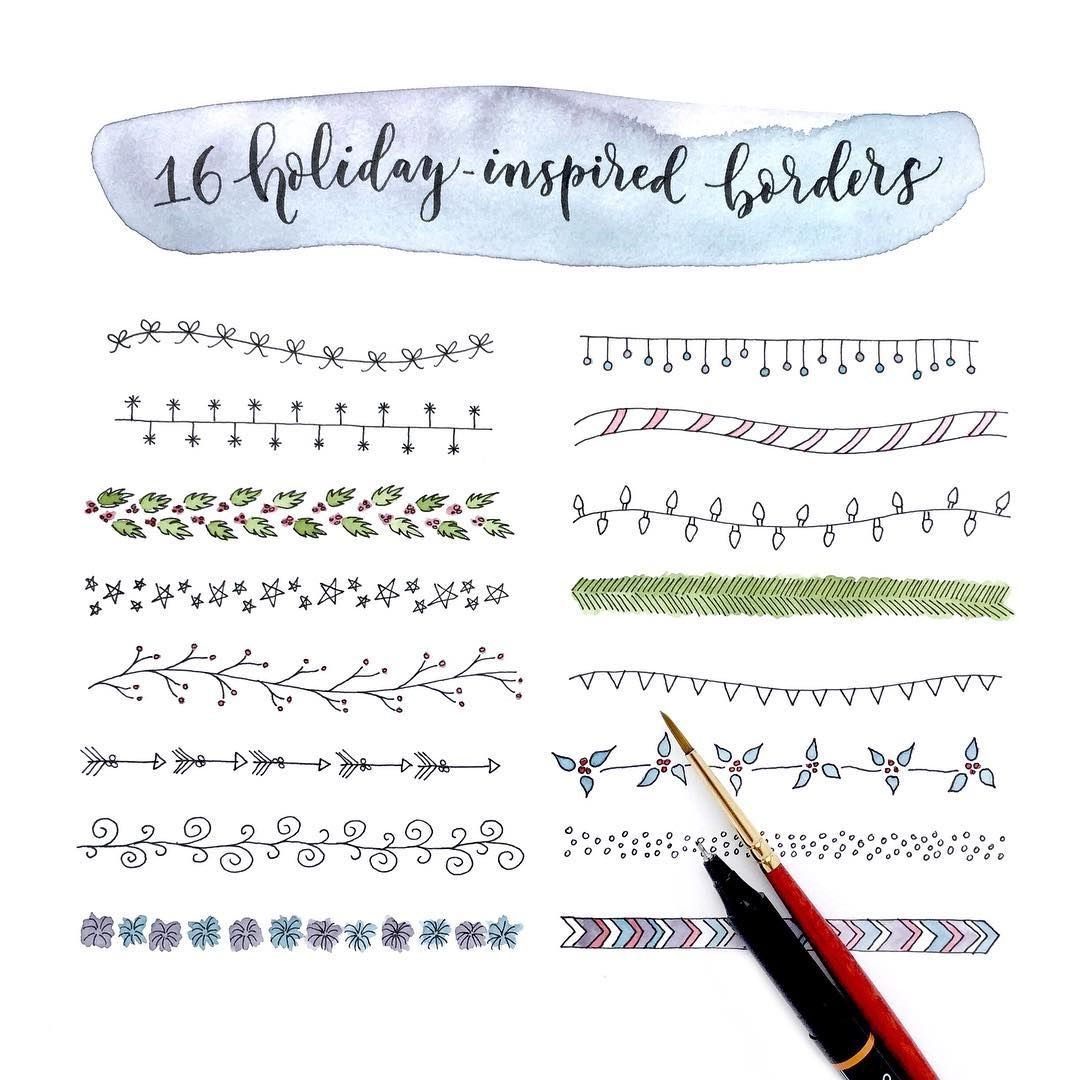 Holiday inspired borders for cards hand lettering and