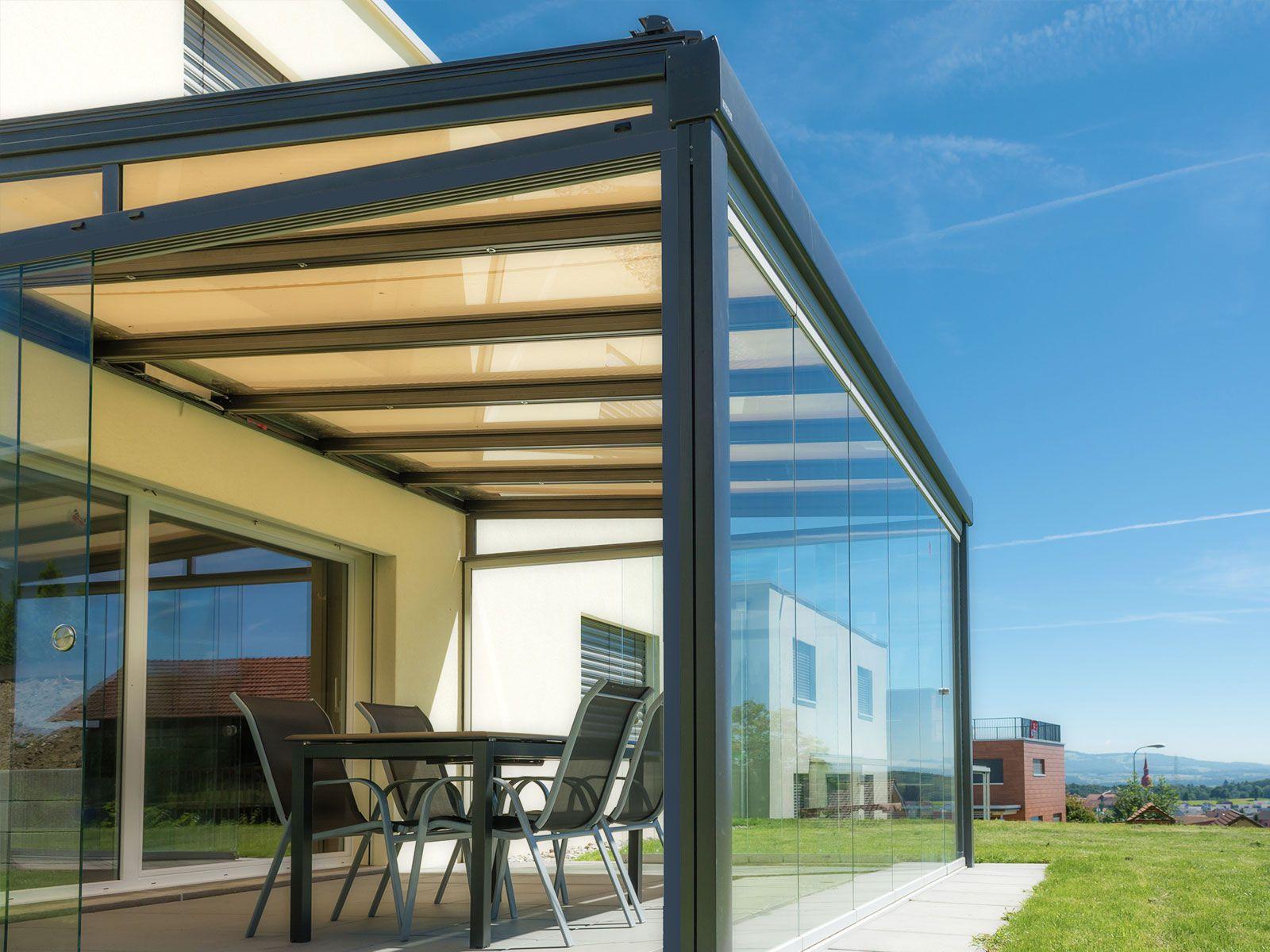 GanzglasSchiebeelemente Terrado Sichtschutz markise