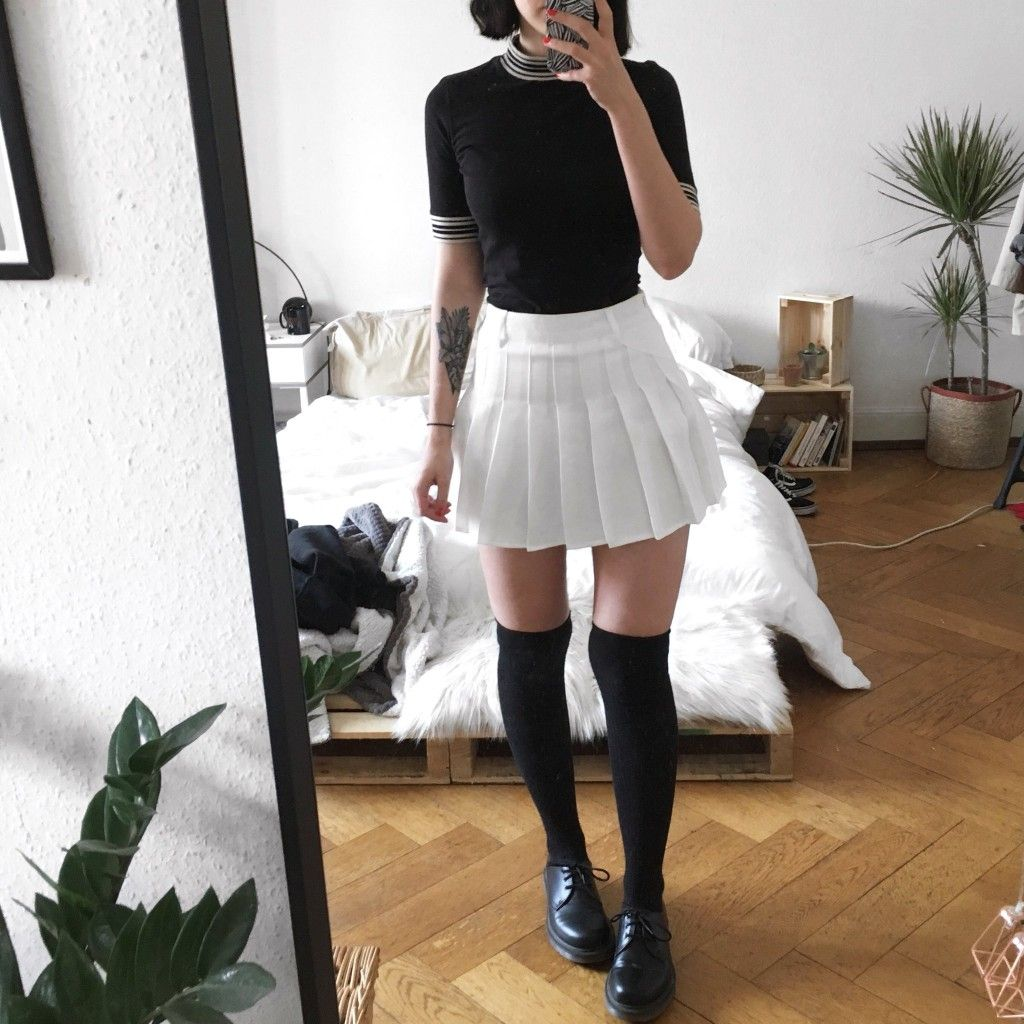 Sc Ulouh Black And White Outfit Tennis Skirt Tennis Skirt Outfit White Tennis Skirt Skirt Outfits Summer