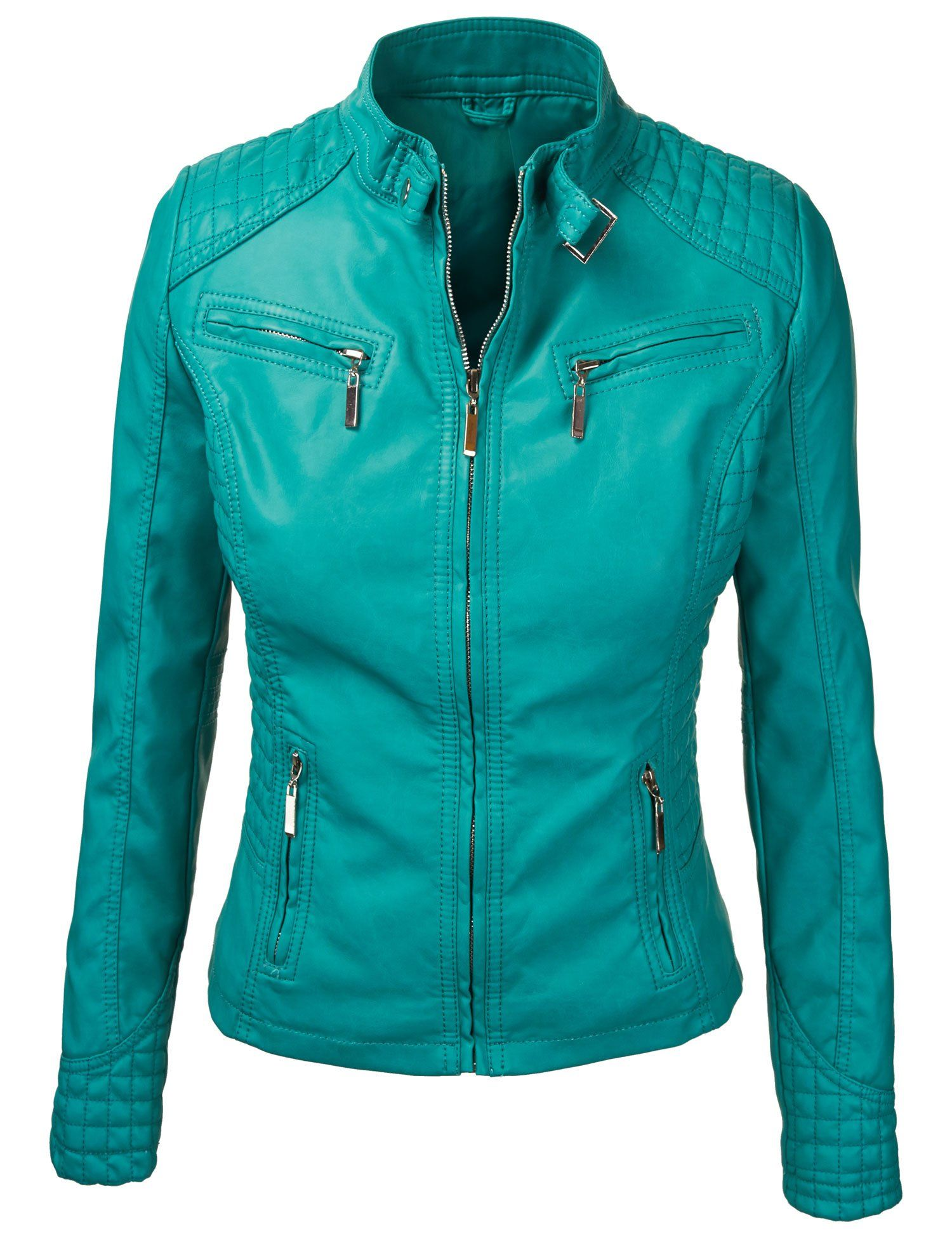 Lock and love women's quilted biker jacket