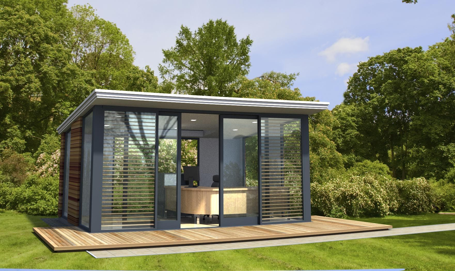 Attrayant Modern Outdoor Home Office With Wooden Desk And Black Chair Facing Wide  Glass Walls And Wooden Shutters Near Green Grass Yard Incredible Outdoor  Home ...