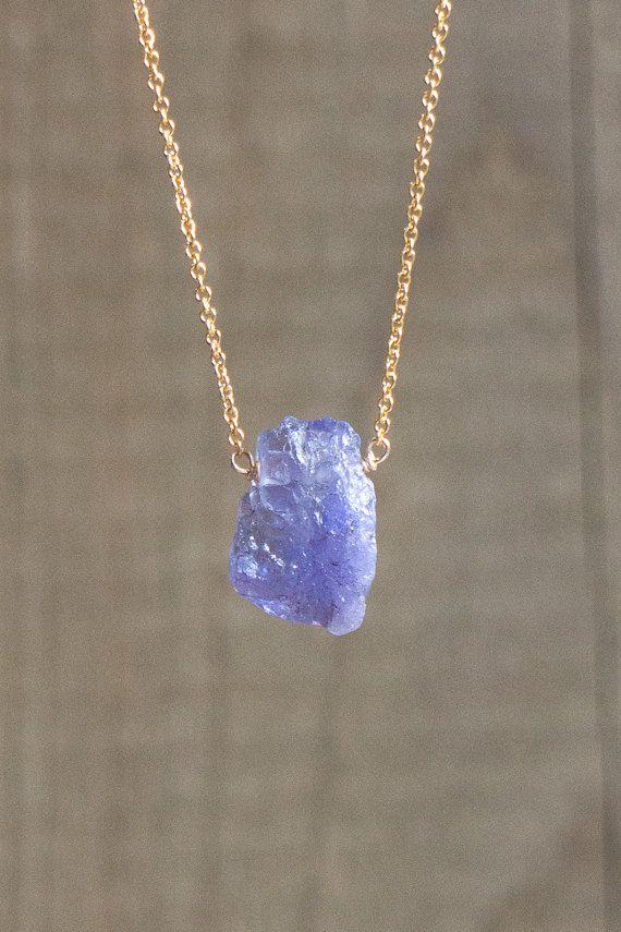 df6c2ab18f2cd Raw Tanzanite Necklace, December Birthstone, Raw Crystal Jewellery ...