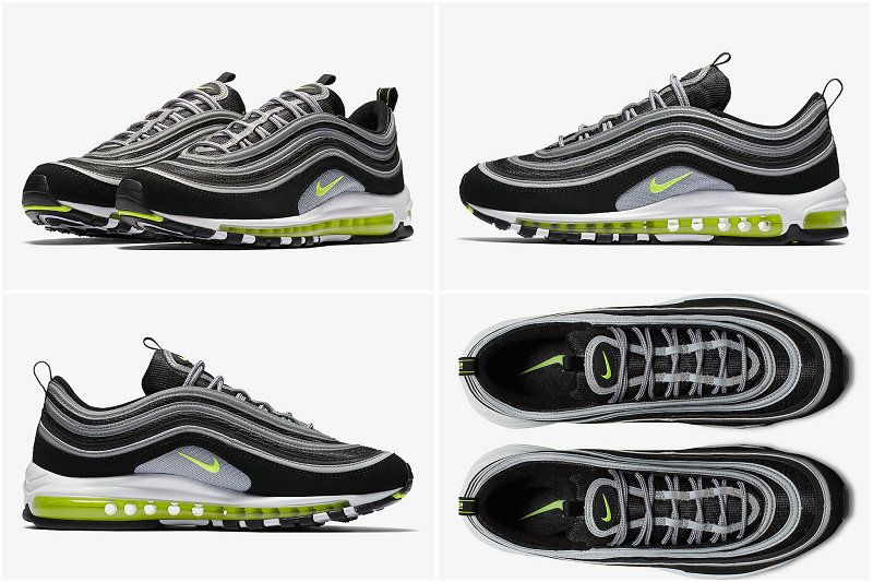 2017 Fall Winter New Nike Air Max 97 Og Black Volt Metallic Silver White 921826 004 Nike Air Max 97 Nike Air Max Air Max 97