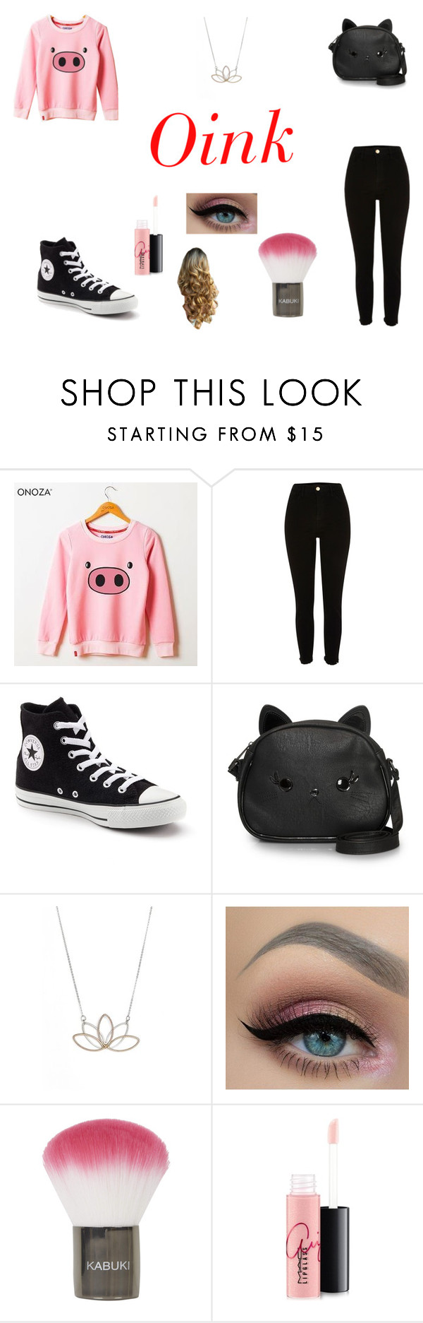"""""""Untitled #70"""" by katiec7 ❤ liked on Polyvore featuring Onoza, River Island, Converse, Loungefly, Nashelle, Topshop and MAC Cosmetics"""