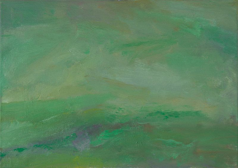 Rautio: Green fields in October - Vihreät laitumet lokakuussa, 38x70 cm, oil on canvas, 2011