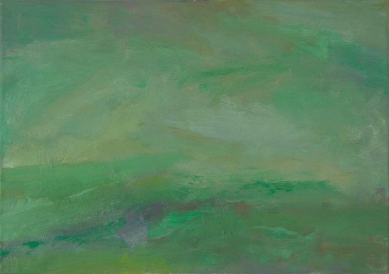 Rautio: Green fields in October - Vihreät laitumet lokakuussa, 38x70 cm, oil on canvas, 2011