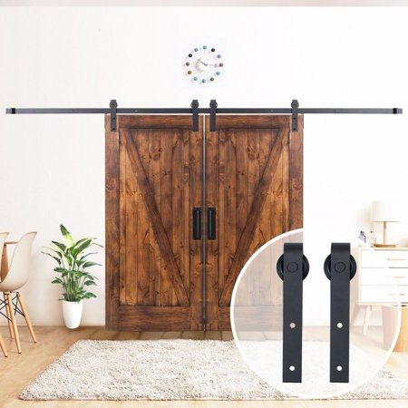 5 5ft American Country Style Sliding Barn Door Track Hardware Kit Frosted Black Steel Interior Barn Door Hardware Barn Doors Sliding Sliding Barn Door Track
