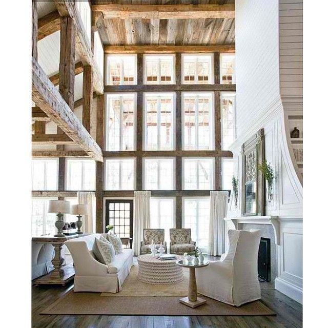 Double height ceilings with windows to match? Yes, please! Ÿ˜What do you guys think? Is this a look you can live with? #kathykuohome #interiordesign via @atlantahomesmag