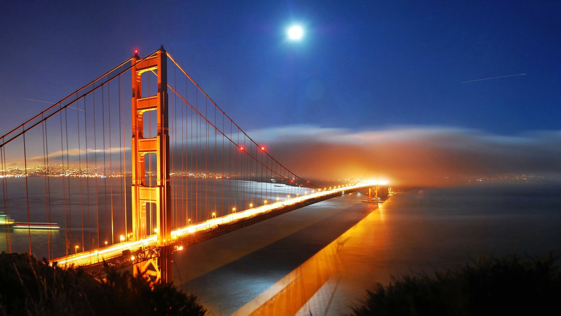 Golden Gate At Night With Fog Over San Francisco San